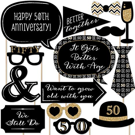 50th wedding anniversary black and white clipart clip free Amazon.com: Big Dot of Happiness 50th Anniversary - Photo Booth ... clip free