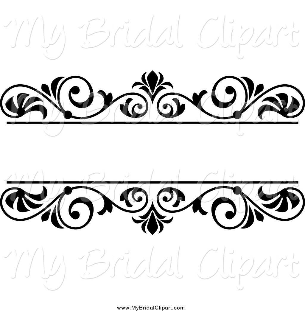 Free country wedding clipart banner transparent download Bridal Clipart of a Black and White Wedding Floral Frame by ... banner transparent download