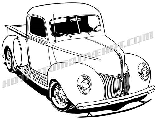 54 ford pickup clipart clip freeuse library 1940 Custom Pickup - Vector clip freeuse library