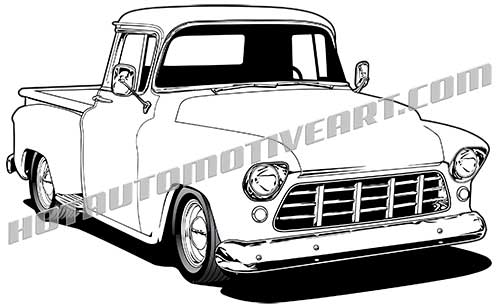 56 chevy truck clipart picture library stock 1955 PickupTruck - VECTOR picture library stock