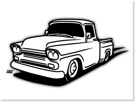 56 chevy truck clipart picture black and white 1958 Chevy Truck Drawings Sketch Coloring Page | truck | 1958 chevy ... picture black and white