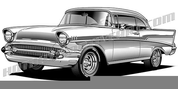 57 chevrolet clipart image black and white download 57 chevy clipart – 2.000.000 Cool Cliparts, Stock Vector And Royalty ... image black and white download