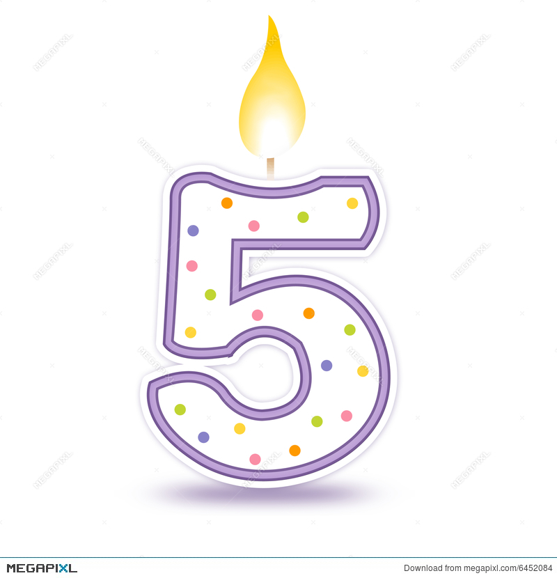 5th birthday candle clipart vector royalty free Birthday Candle - 5 Illustration 6452084 - Megapixl vector royalty free