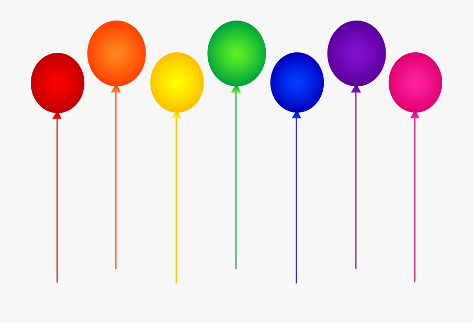 6 balloons clipart picture library Seven Rainbow Birthday Party Balloons - Birthday Balloon Clip Art ... picture library