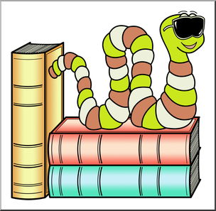 Clip Art: Cartoon Bookworm 6 Color 2 | abcteach picture library library