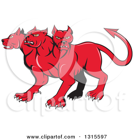 Royalty free rf fantasy. 6 headed monster clipart