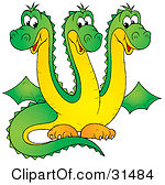 6 headed monster clipart.  clipartfest illustration of