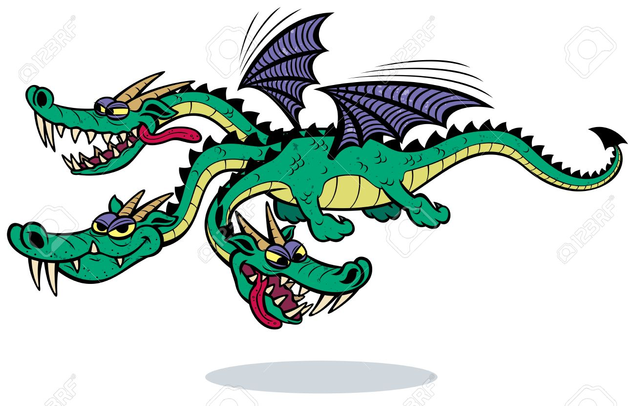 6 headed monster clipart. Cartoon three dragon over