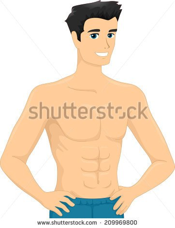 6 pack abs clipart. Kid illustration of a