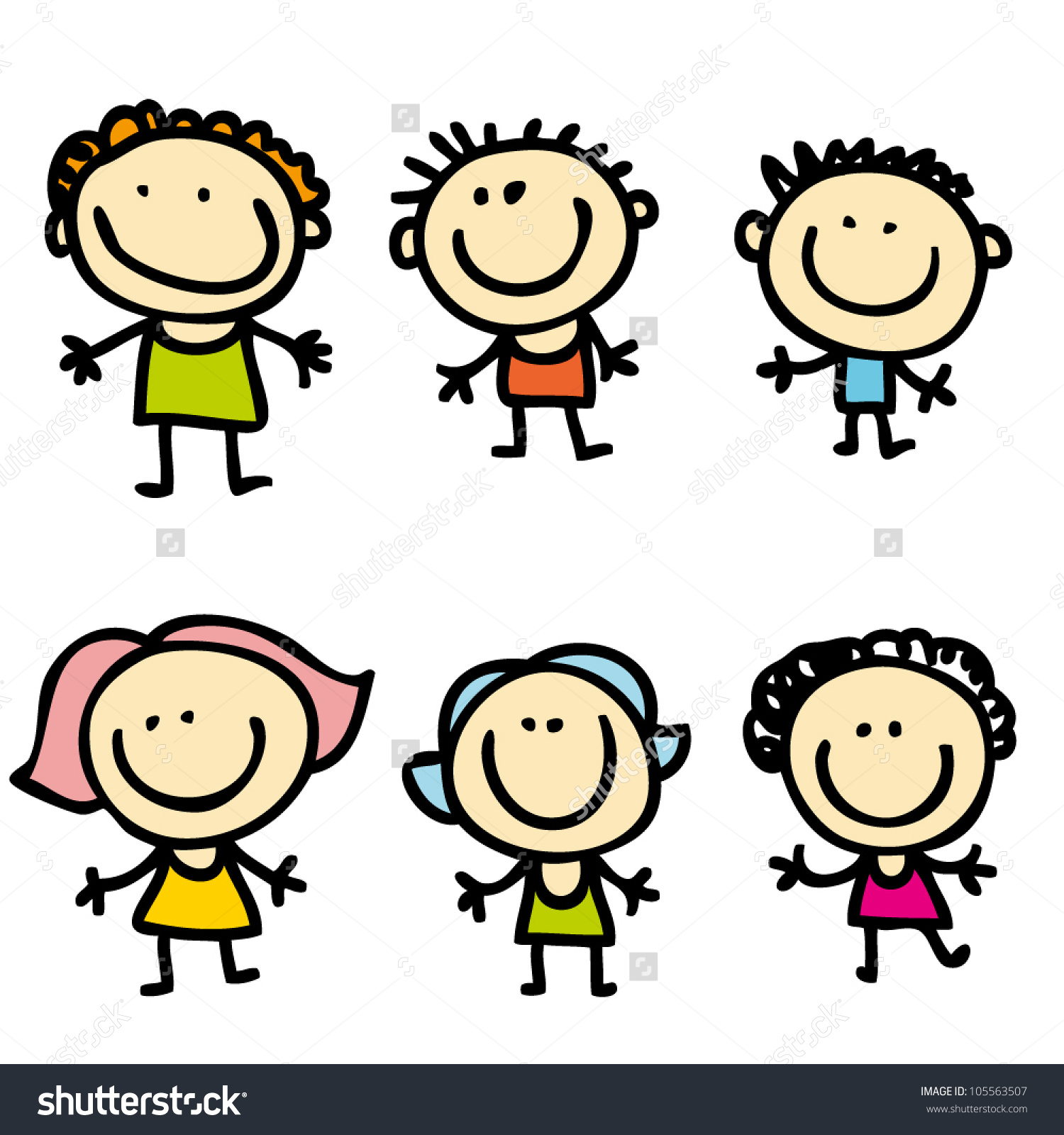 6 siblings clipart vector free Happy Kids Stock Vector 105563507 - Shutterstock vector free