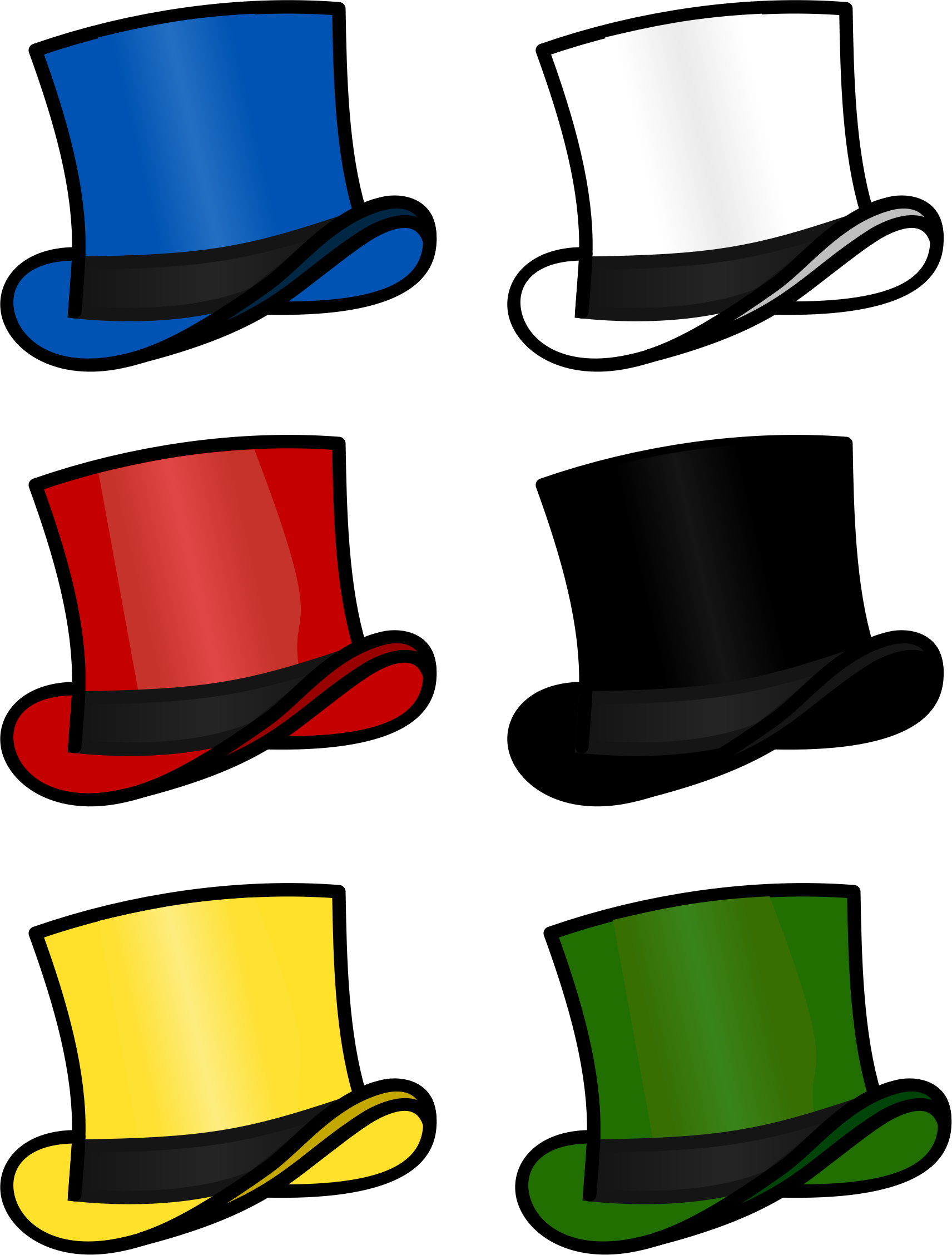 6 thinking hats clipart clipart black and white Clipart - Six Thinking Hats clipart black and white