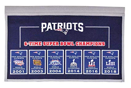 6 time superbowl clipart jpg royalty free library New England Patriots 6-Time Super Bowl Champions Champs Banner with ... jpg royalty free library