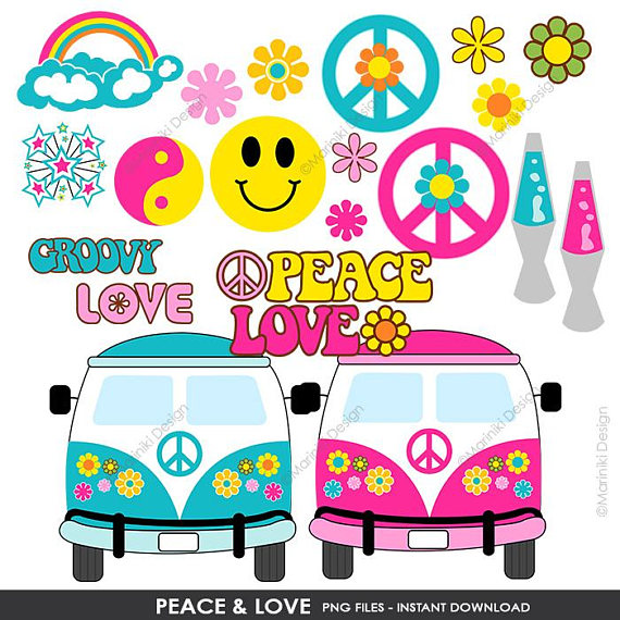 60 s clipart freeuse library Peace Love Hippie Groovy Clipart, Peace Clip Art, 60s Clipart for ... freeuse library