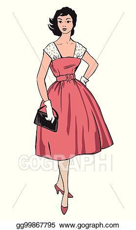 60 s girl clipart clip art Vector Art - Stylish cloth woman. fashion dressed girl 1960\'s style ... clip art