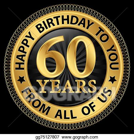 60 years clipart svg library download Vector Clipart - 60 years happy birthday to you from all of us gold ... svg library download