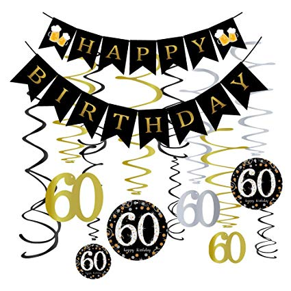 60 years clipart png stock Omgouue 60th Birthday Party Decorations KIT - 60 Years Old Party Banner,60  Hanging Swirls Gold,60th Years Old Party Supplies Anniversary Decorations png stock