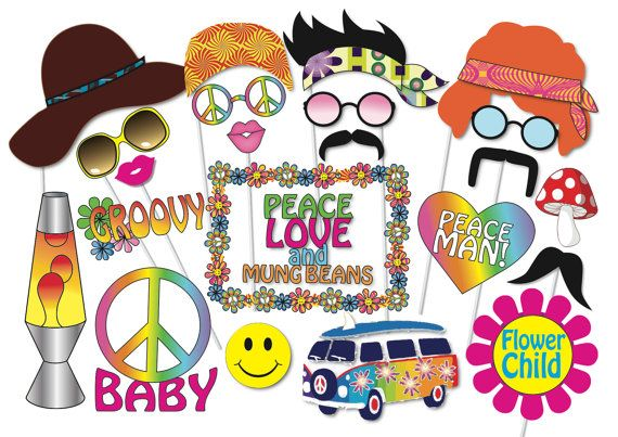 60s party people clipart png freeuse stock Hippie Party Photo booth Props Set - 24 Piece PRINTABLE - 60s - 70s ... png freeuse stock