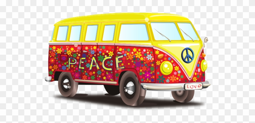 60s vw bus clipart graphic freeuse stock Peace And Love Vw Bus 555px - Flower Power Bus Png, Transparent Png ... graphic freeuse stock