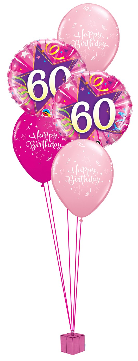 60th birthday balloons clipart png download Pink 60th Birthday Balloon Bouquet png download