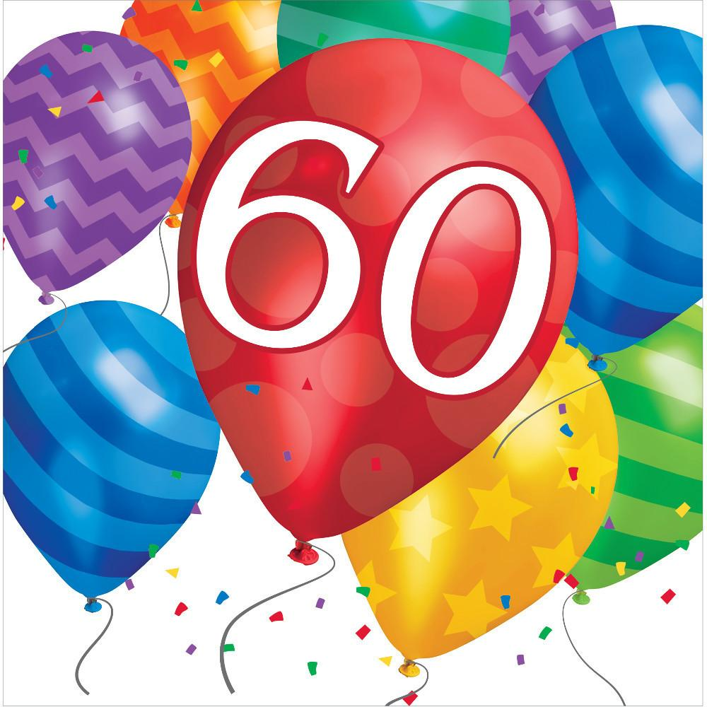 60th birthday balloons clipart png black and white stock Balloon Blast 60th Birthday Luncheon Napkins (16ct) png black and white stock