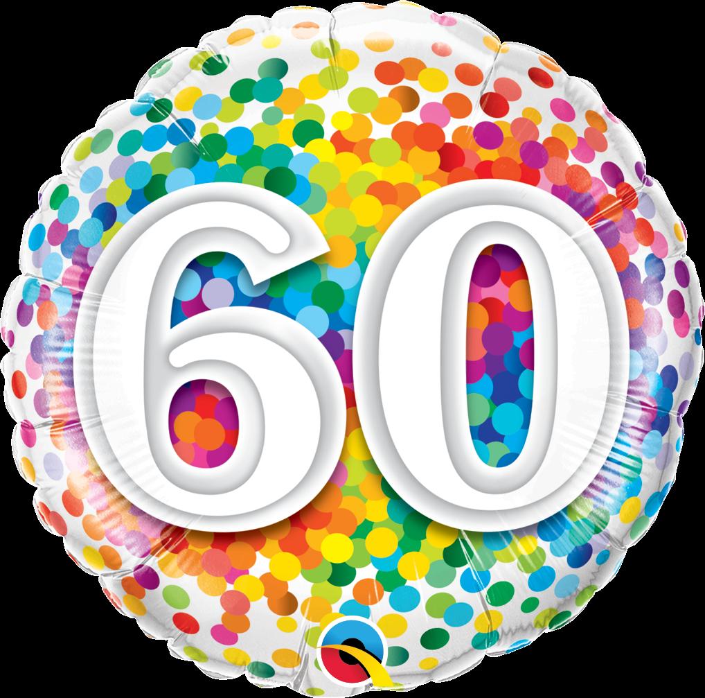 60th birthday balloons clipart image black and white 60th Birthday Confetti Design Foil Balloon image black and white