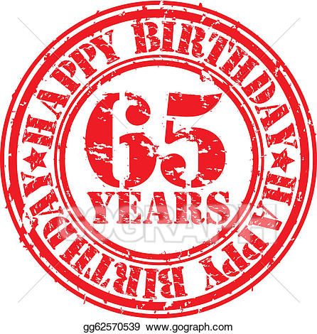 65 years clipart banner freeuse library Vector Clipart - Grunge 65 years happy birthday rubb. Vector ... banner freeuse library