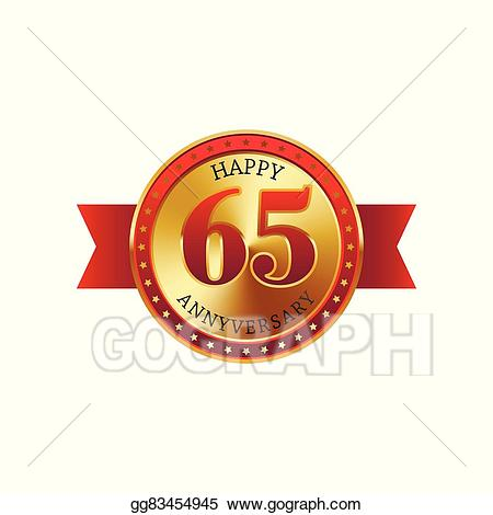 65 years clipart banner free stock Vector Illustration - 65 years anniversary golden label with ribbons ... banner free stock