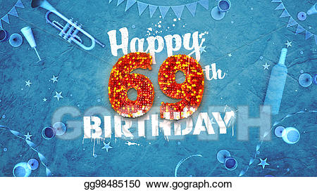 69th birthday clipart banner free stock Clipart - Happy 69th birthday card with beautiful details. Stock ... banner free stock