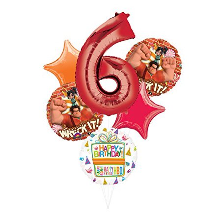 6th birthday one balloon clipart svg library Wreck It Ralph Party Supplies 6th Birthday Balloon Bouquet Decorations svg library