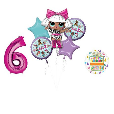6th birthday one balloon clipart vector LOL Party Supplies 6th Birthday Balloon Bouquet Decorations vector