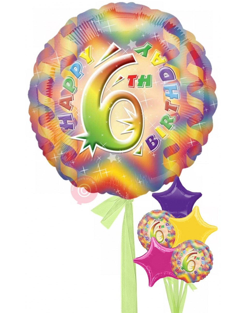 6th birthday one balloon clipart png library No 6 Happy 6th Birthday Girl png library