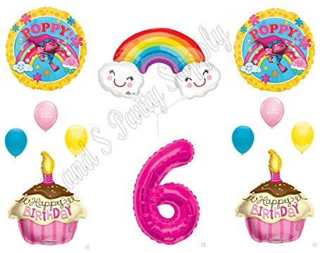 6th birthday one balloon clipart svg royalty free library POPPY TROLLS RAINBOW 6th Happy Birthday Party Balloons Decoration Supplies  Movie svg royalty free library