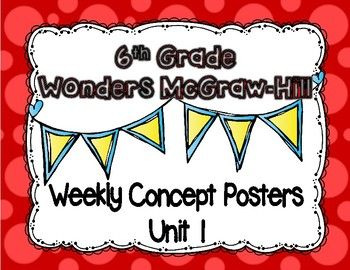 6th grade clipart reading image freeuse library Wonders McGraw Hill 6th Grade Weekly Concept Posters - Unit 1 | 6th ... image freeuse library