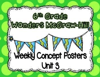 6th grade clipart reading jpg black and white stock Wonders McGraw Hill 6th Grade Weekly Concept Posters - Unit 3 | Best ... jpg black and white stock