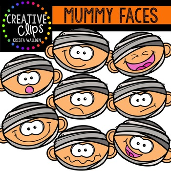 7 14 digital clipart clip black and white stock Mummy Faces {Creative Clips Digital Clipart} clip black and white stock