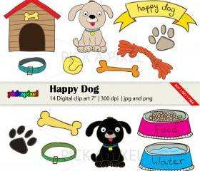 7 14 digital clipart clipart free library Happy Dog - Digital Clip Art - Personal And Commercial Use clipart free library