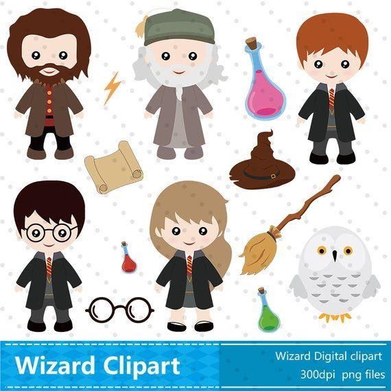7 14 digital clipart banner transparent download Wizard Clipart, Wizard Clip Art Instant Download,Cute Wizard Elf ... banner transparent download