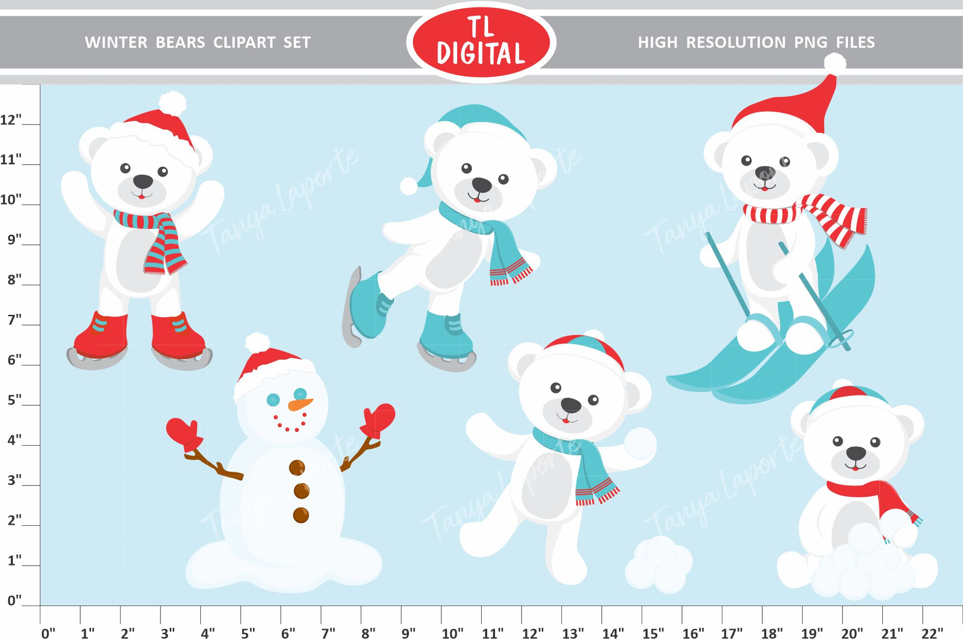 7 14 digital clipart clip freeuse download Winter Bear Clipart Set clip freeuse download