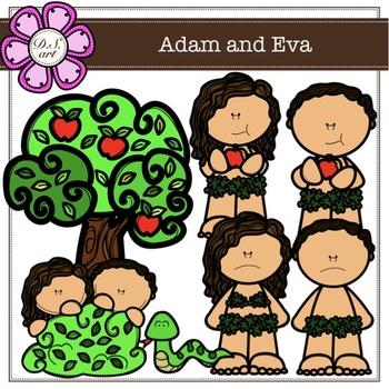 7 14 digital clipart clip download Adam and Eva Digital Clipart (color and black&white) clip download