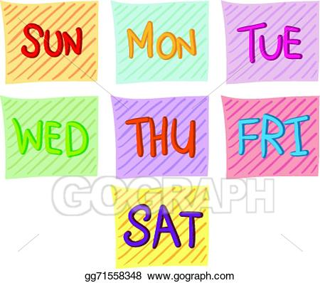 7 days of the week clipart clip freeuse stock Vector Stock - Seven days of the week. Stock Clip Art gg71558348 ... clip freeuse stock