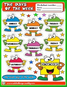 7 days of the week clipart jpg black and white library 119 Best ꧁Week Days꧁ images in 2017 | Classroom calendar, Days of ... jpg black and white library