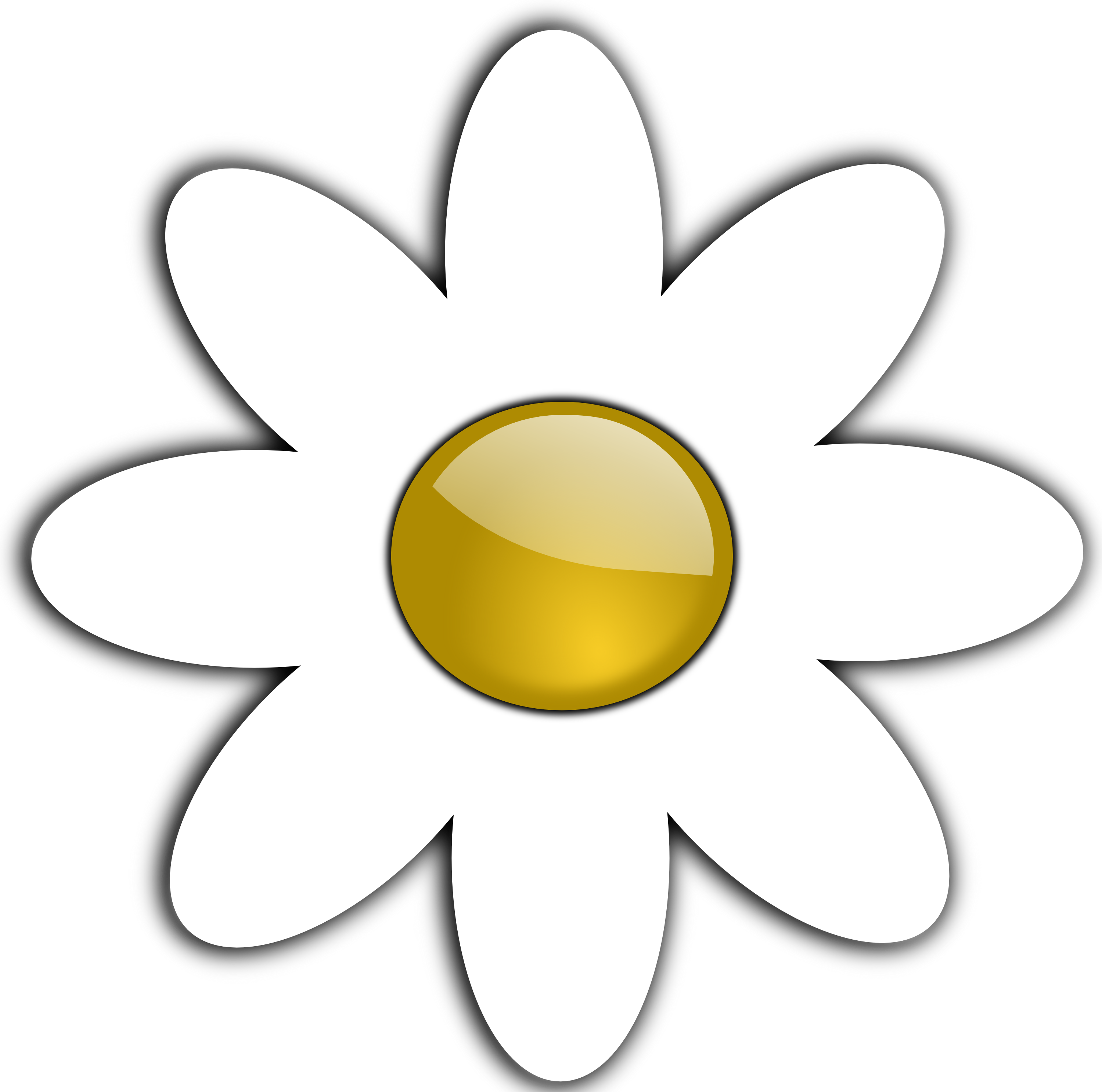 Daisy black and white. Five petal flower clipart