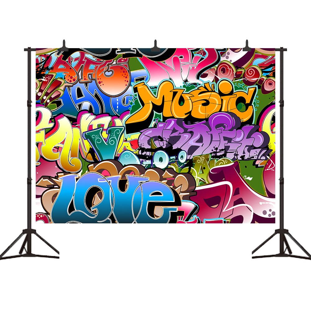 7 rings graffiti clipart png library stock 7x5ft Graffiti Style Photography Backdrops Vinyl Hip Hop 90\'s Party  Decoration Photo Background Studio Prop png library stock