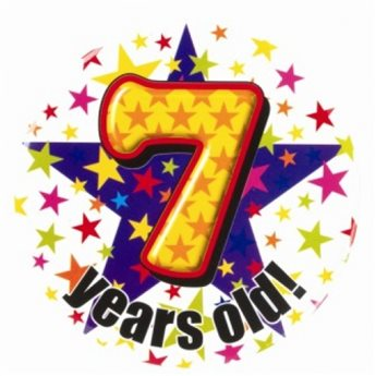 7 years clipart png freeuse stock 7 Years Old Jumbo Birthday Badge - The Mad Hatter Joke and Fancy ... png freeuse stock