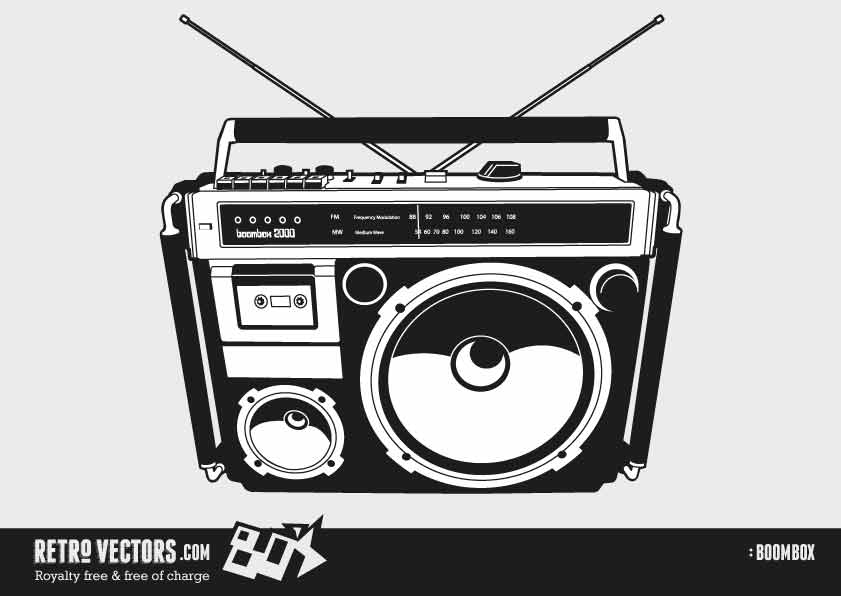 70s boom box clipart royalty free library 80\'s Boombox 1 | Free Retro Vectors royalty free library