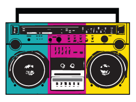 70s boom box clipart picture library download Stereo Radio wall decals | Illustration in 2019 | Boombox, Sports ... picture library download