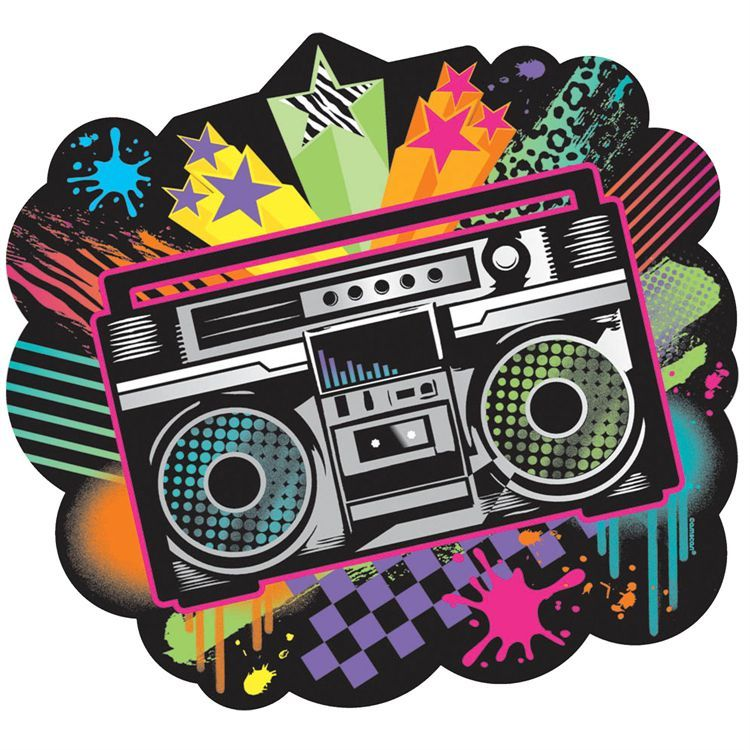 70s boom box clipart png black and white stock Retro Boombox Cutout | Windy City Novelties | Birthday grafitti art ... png black and white stock