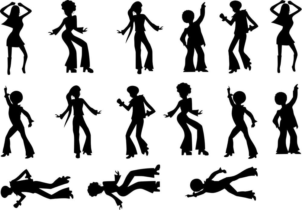 70s disco silhouette clipart graphic library library 70\'s Dancing Disco Cake Topper Silhouettes A4 Edible Printed Iced ... graphic library library