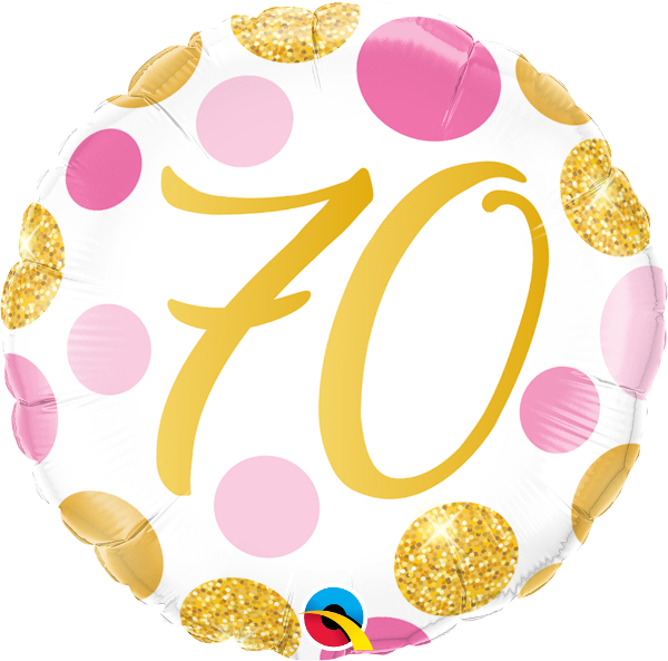 70th balloon clipart clipart free Qualatex Age 70/70th Birthday Pink & Gold Dots 18 clipart free