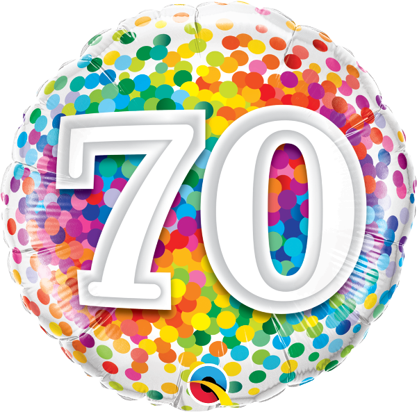 70th birthday clipart png black and white library 70th Birthday Rainbow Confetti Balloon - Birthday - Balloons png black and white library